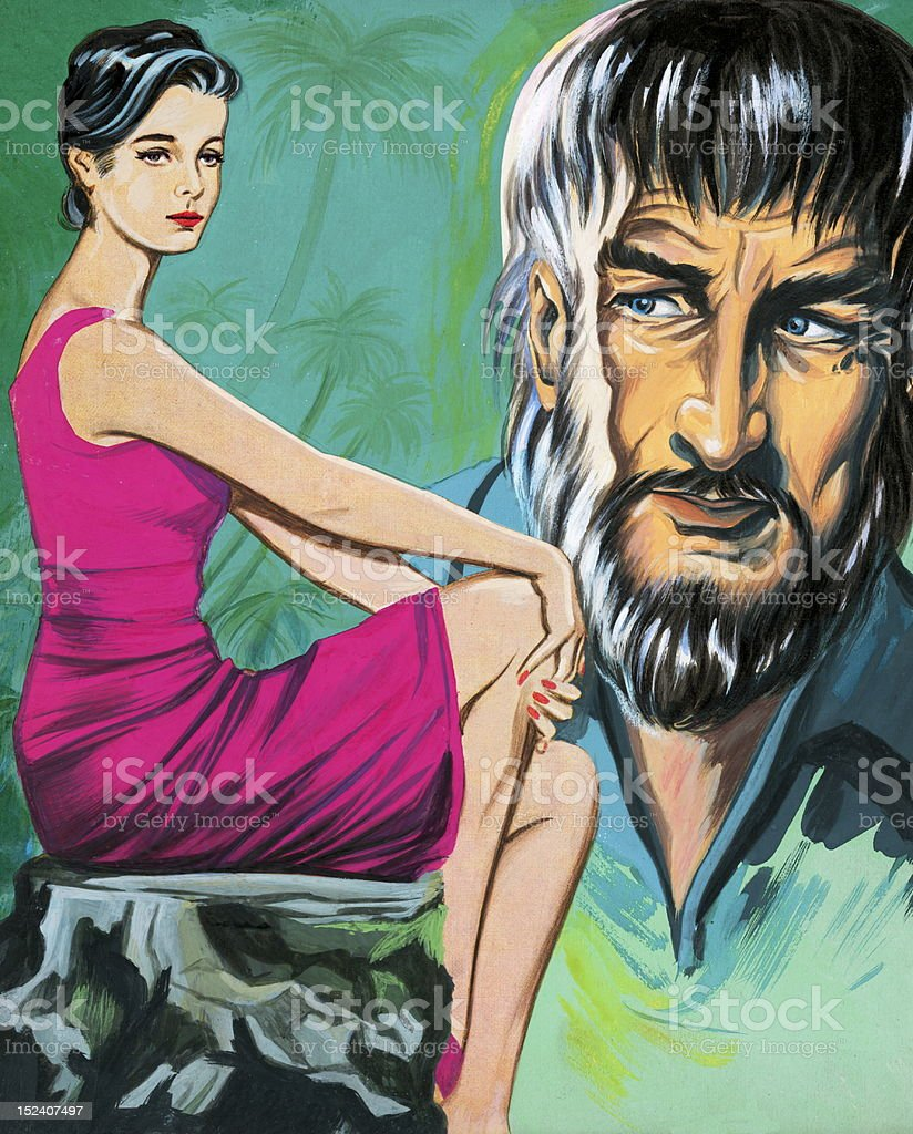 Woman in Pink With Creepy Bearded Man vector art illustration