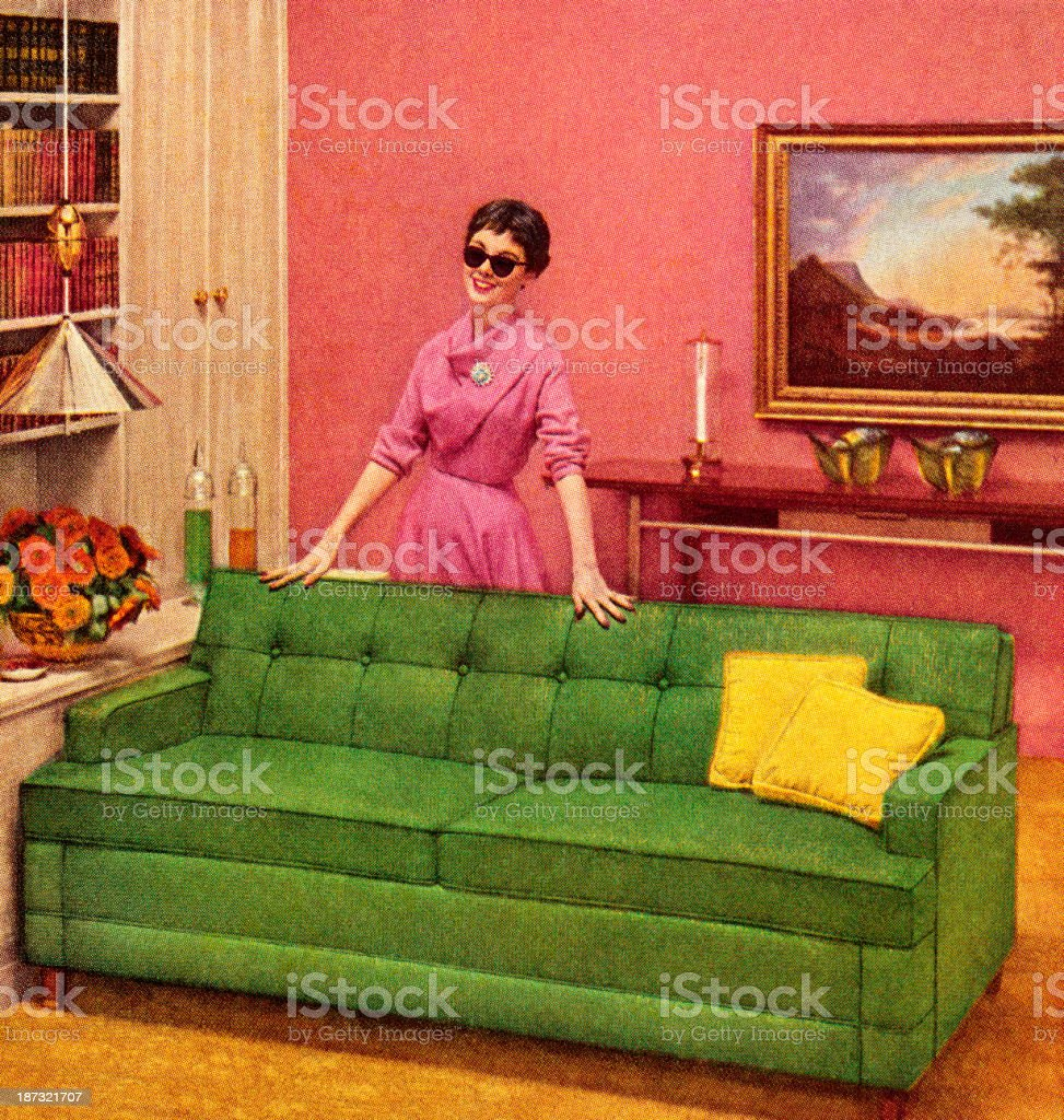Woman In Sunglasses Standing Behind Couch vector art illustration