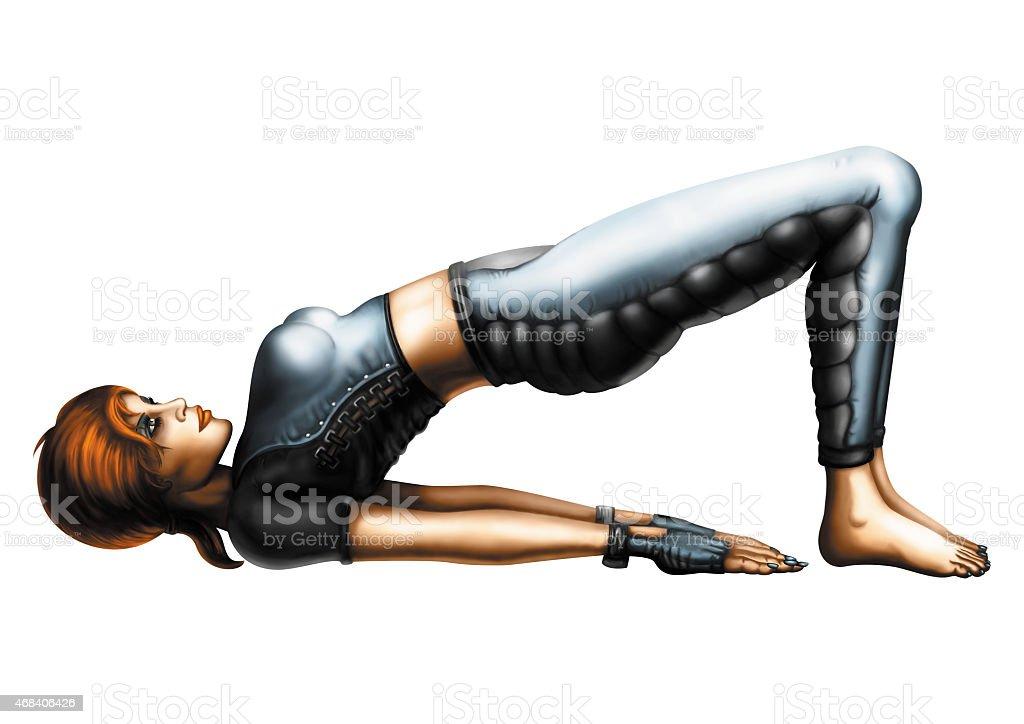Woman in the Yoga Bridge Pose (Setu Bandhasana) vector art illustration