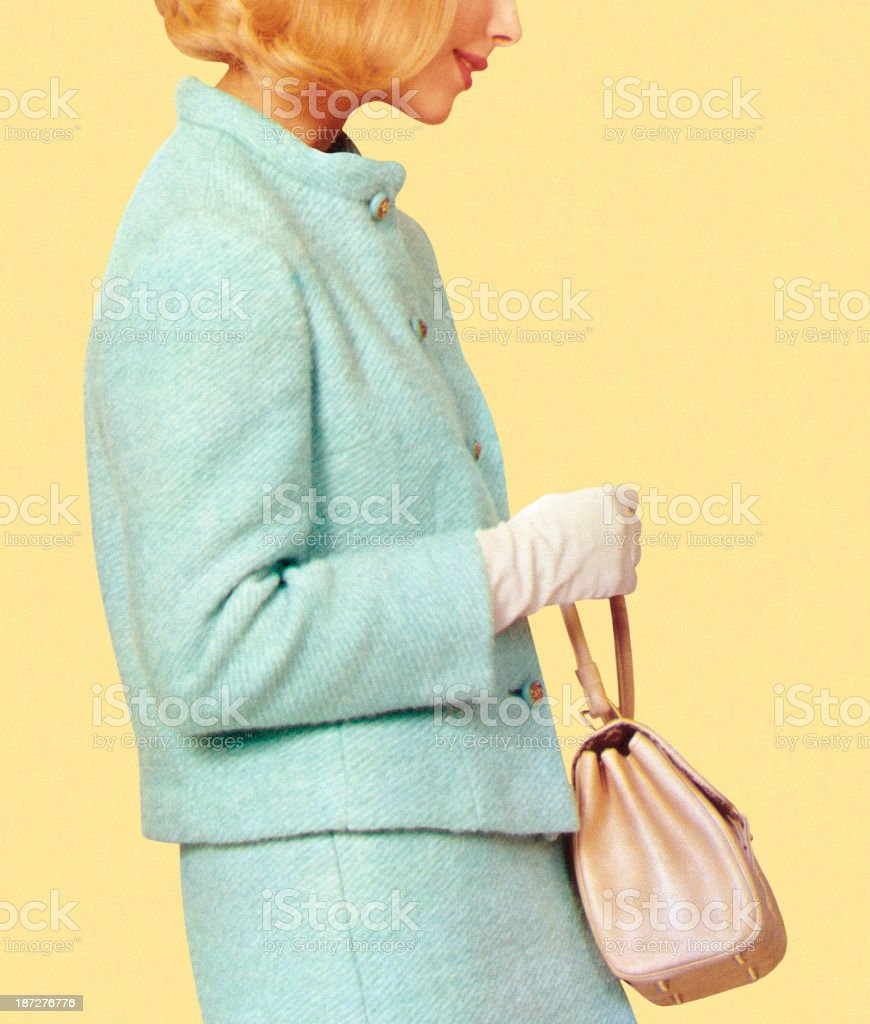 A woman in vintage blue suit holding a purse vector art illustration
