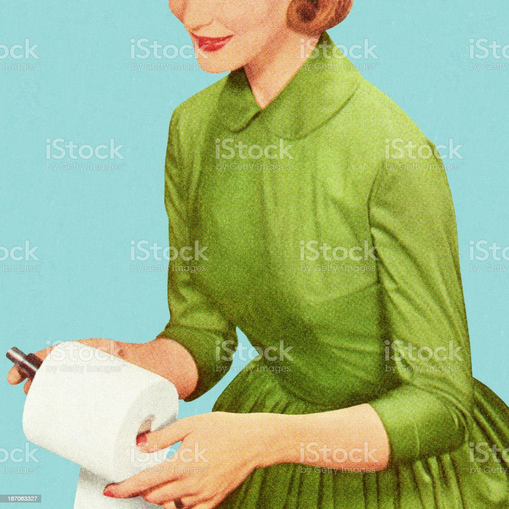 A woman in vintage fashion holding a toilet paper roll vector art illustration