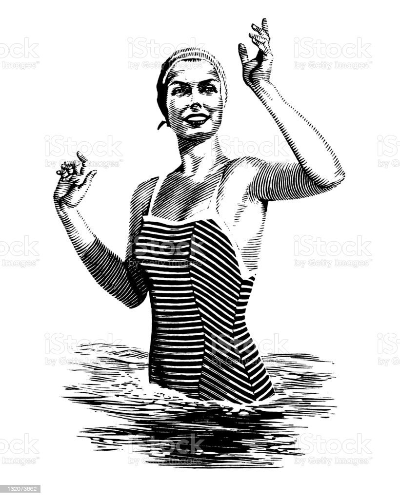 Woman in Water Waving vector art illustration