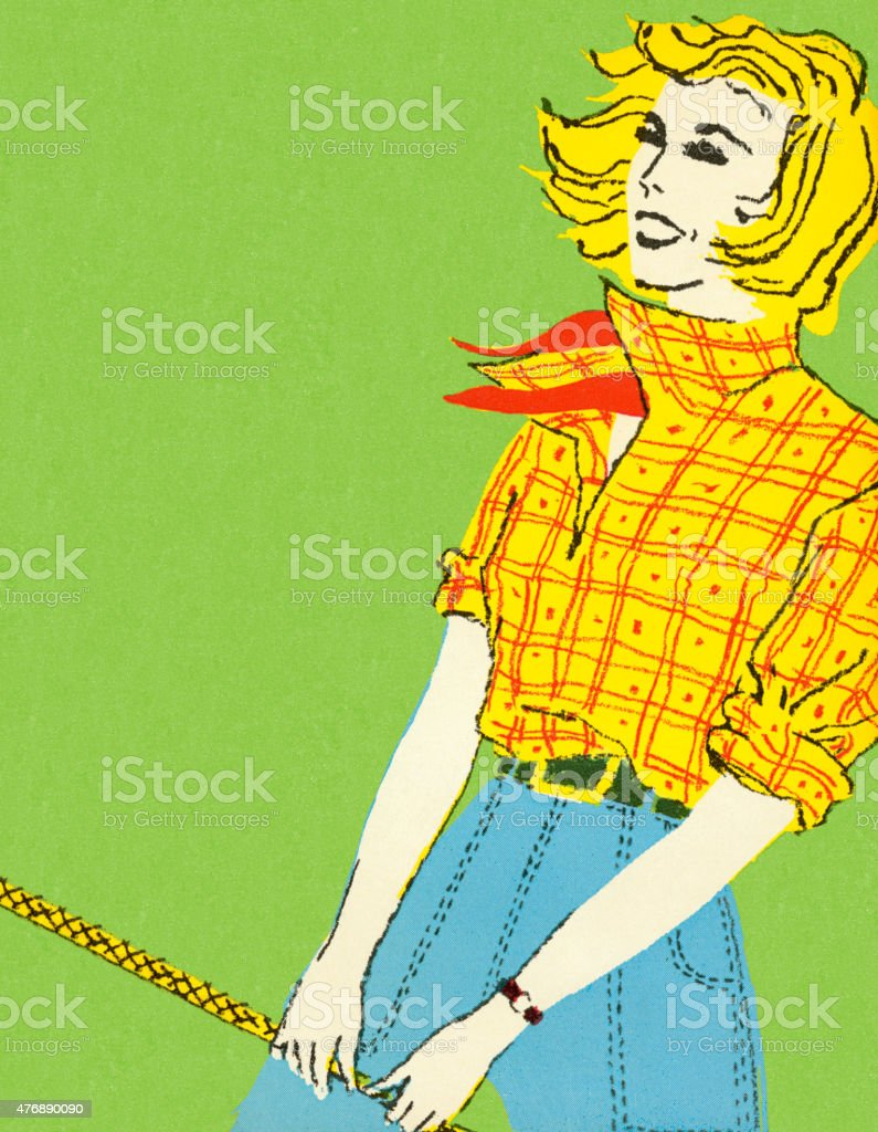 Woman in Yellow and Red Plaid Top vector art illustration