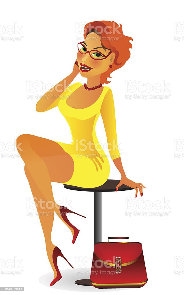woman in yellow royalty-free stock vector art