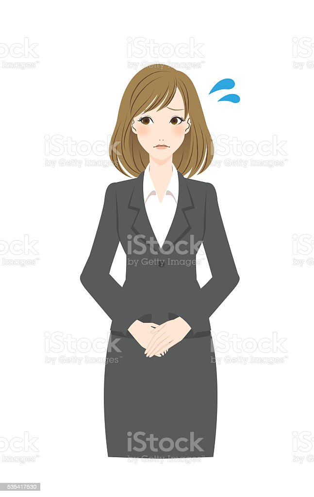 Woman is in trouble. vector art illustration