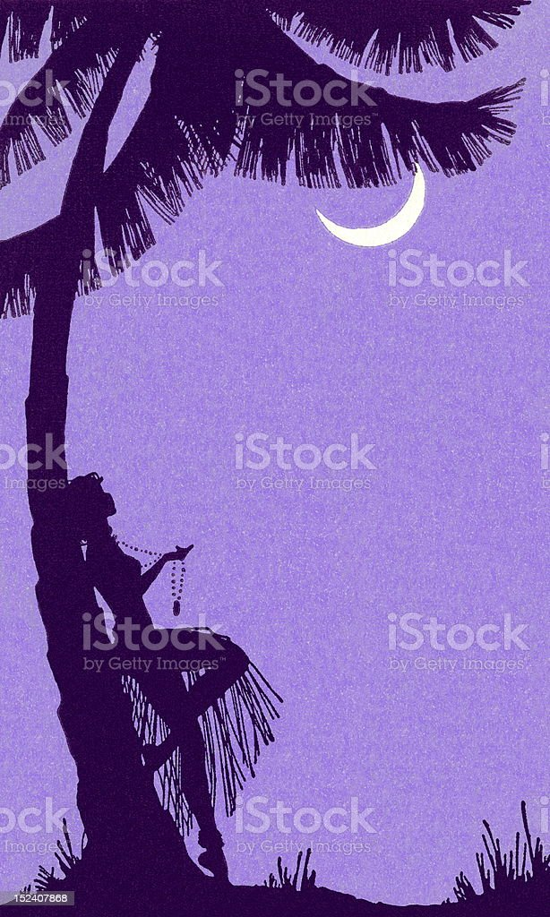 Woman Leaning Against Palm Tree vector art illustration