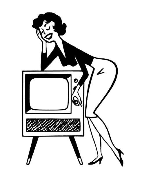 Woman Leaning On Television Clip Art, Vector Images