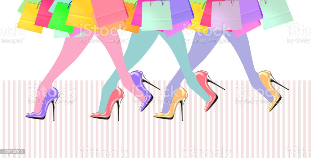 Woman legs with high heel shoes vector art illustration