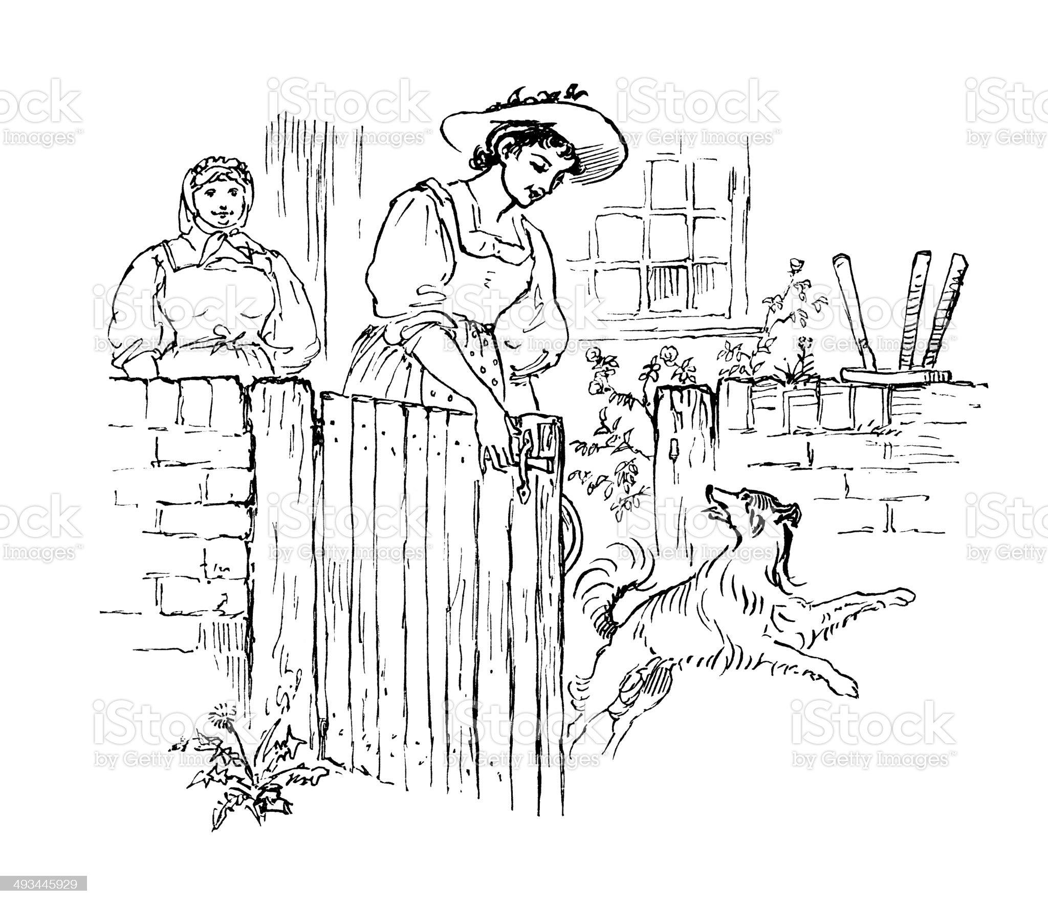 Woman letting a dog through a garden gate royalty-free stock vector art
