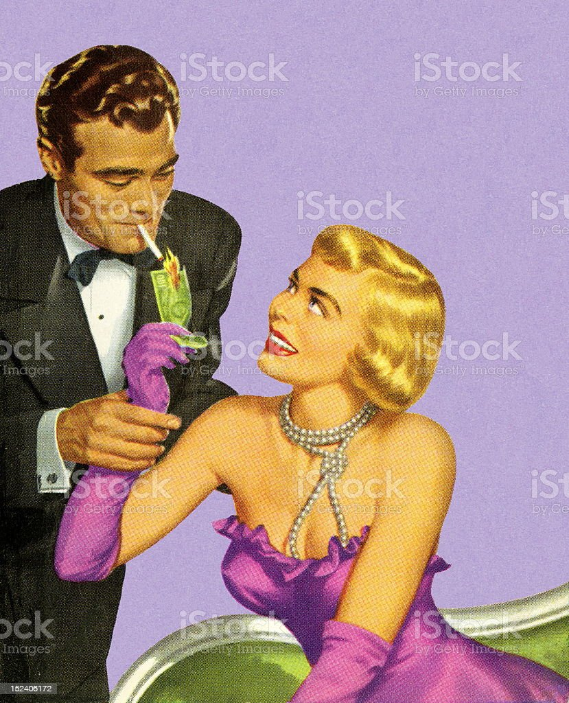 Woman Lighting Man's Cigarette vector art illustration