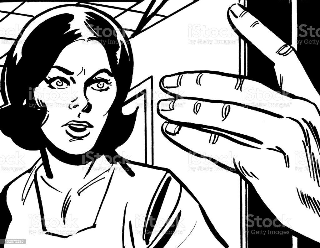 Woman Looking at Hand royalty-free stock vector art
