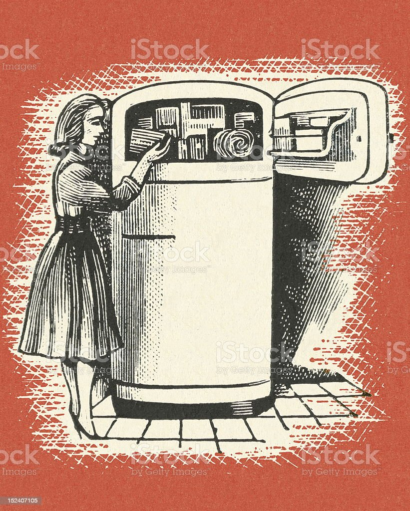 Woman Looking In Freezer royalty-free stock vector art