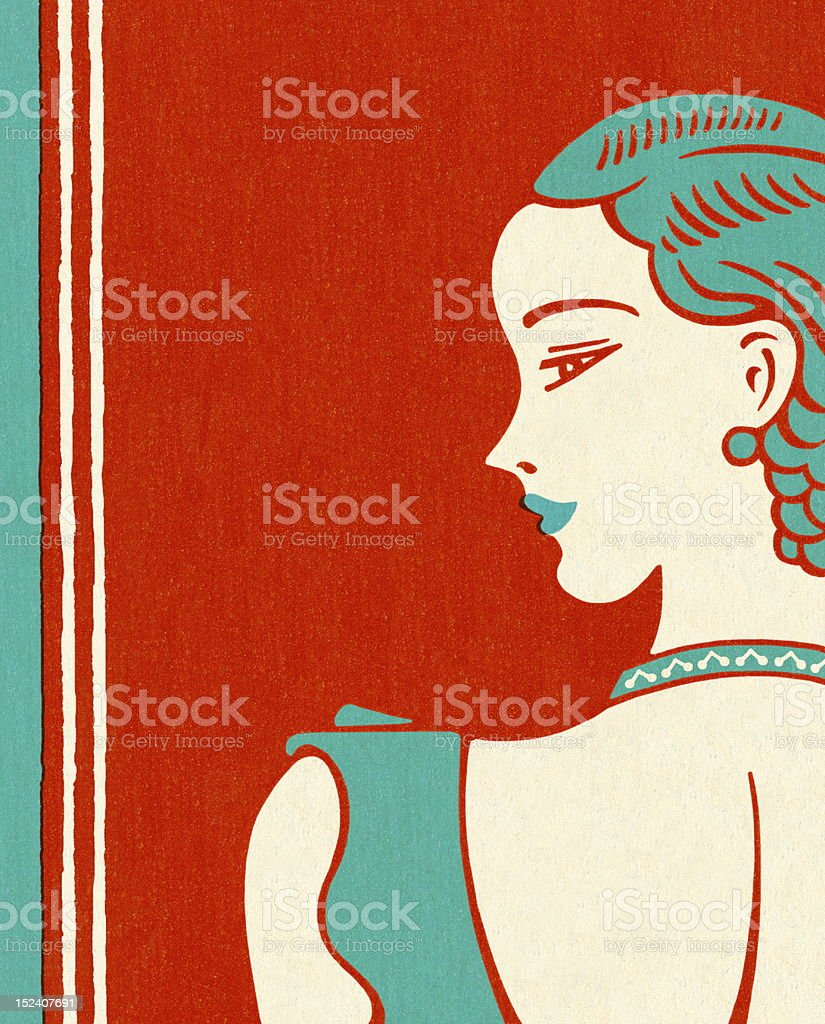 Woman Looking To The Left royalty-free stock vector art