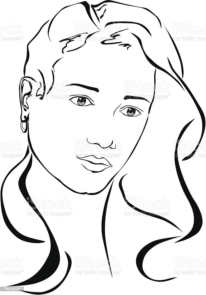 Woman looks thoughtful. royalty-free stock vector art
