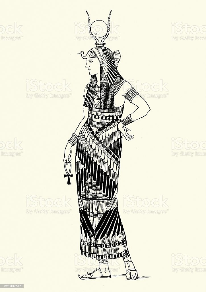 Woman of Ancient Thebes vector art illustration