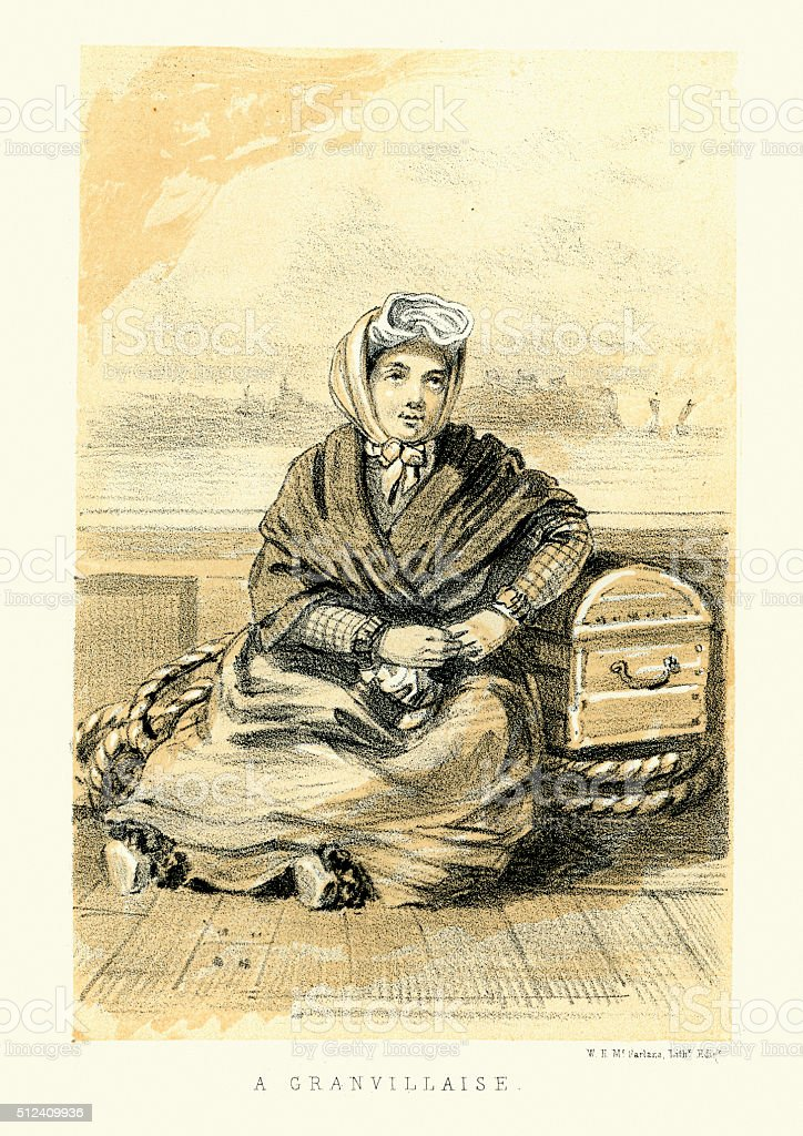 Woman of Granville, Manche, Normandy, France 19th Century vector art illustration
