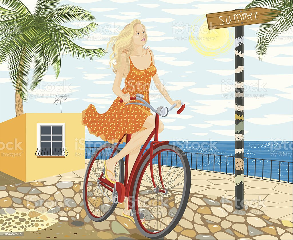 Woman on a bicycle royalty-free stock vector art