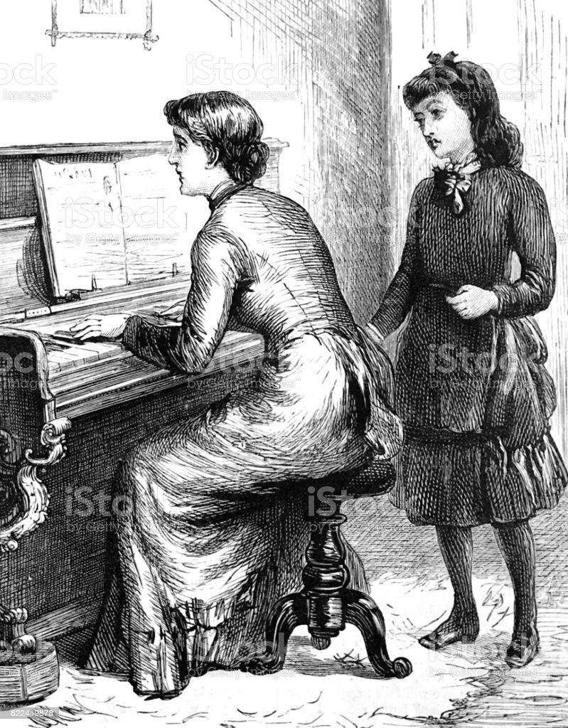 Woman playing piano, girl behind her listening vector art illustration