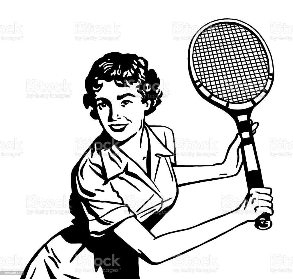 Woman Playing Tennis vector art illustration