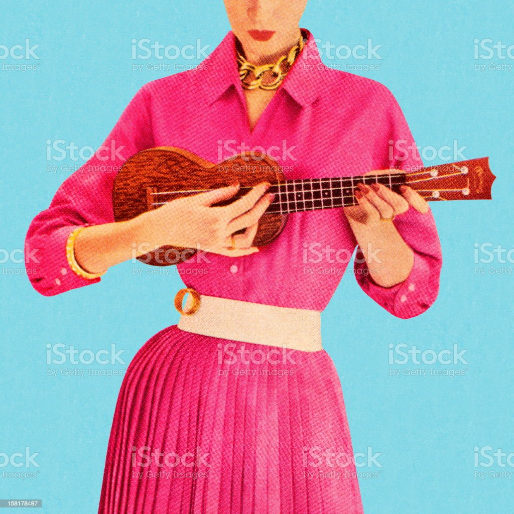 Woman Playing Ukulele royalty-free stock vector art