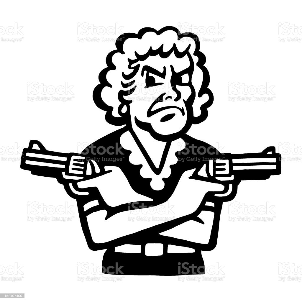 Woman Pointing Two Guns royalty-free stock vector art