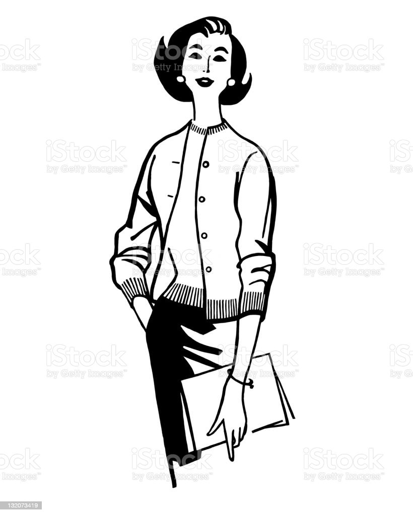 Woman Posing Holding Folder vector art illustration