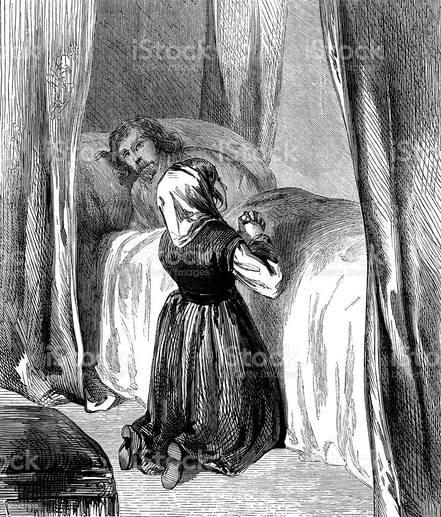 Woman praying by the bedside of an ill man vector art illustration
