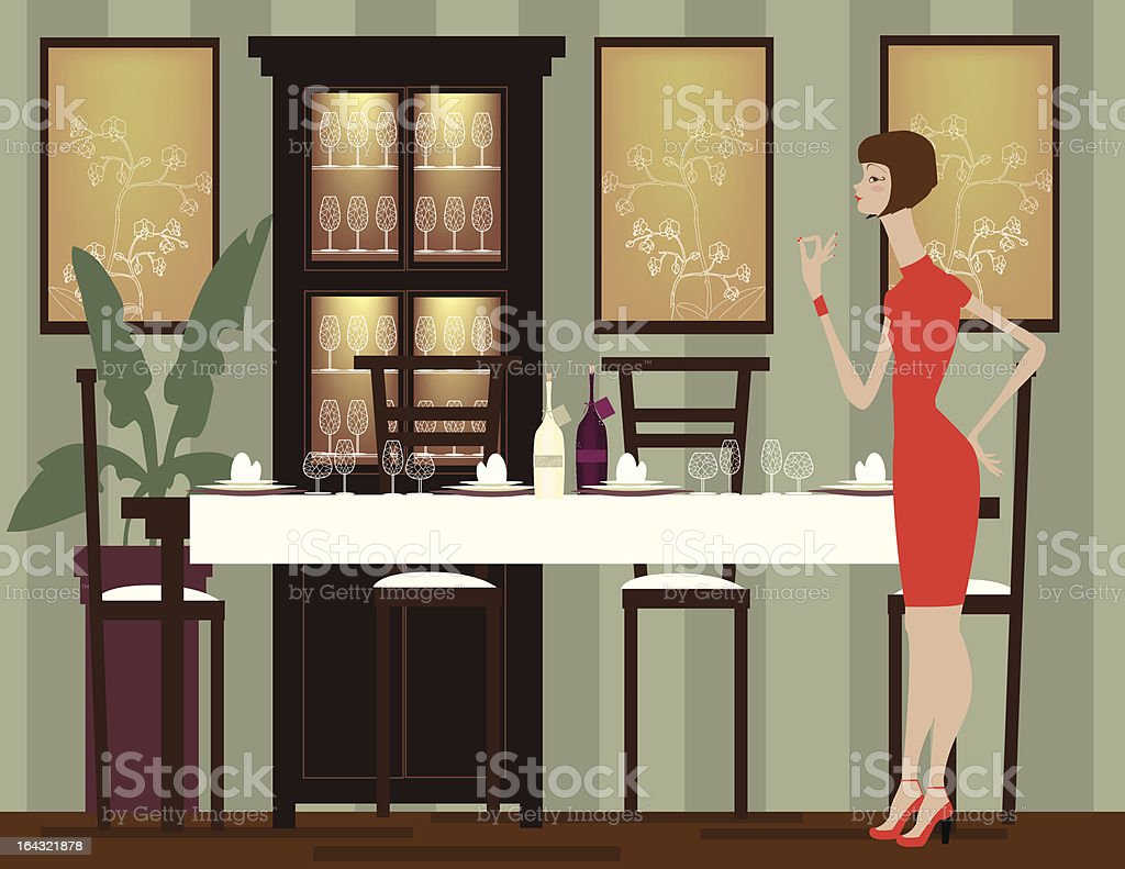 Woman Preparing for Dinner Party royalty-free stock vector art