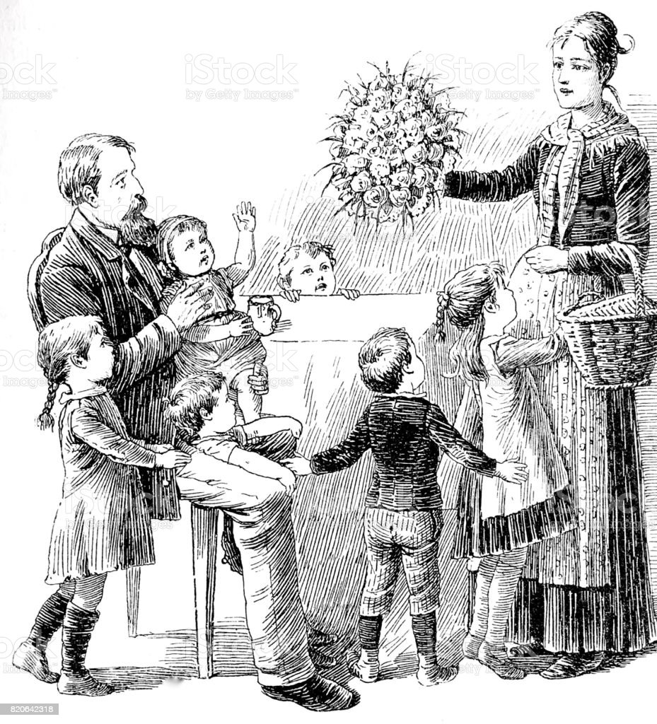 Woman presenting flower bouquet to husband and five children vector art illustration