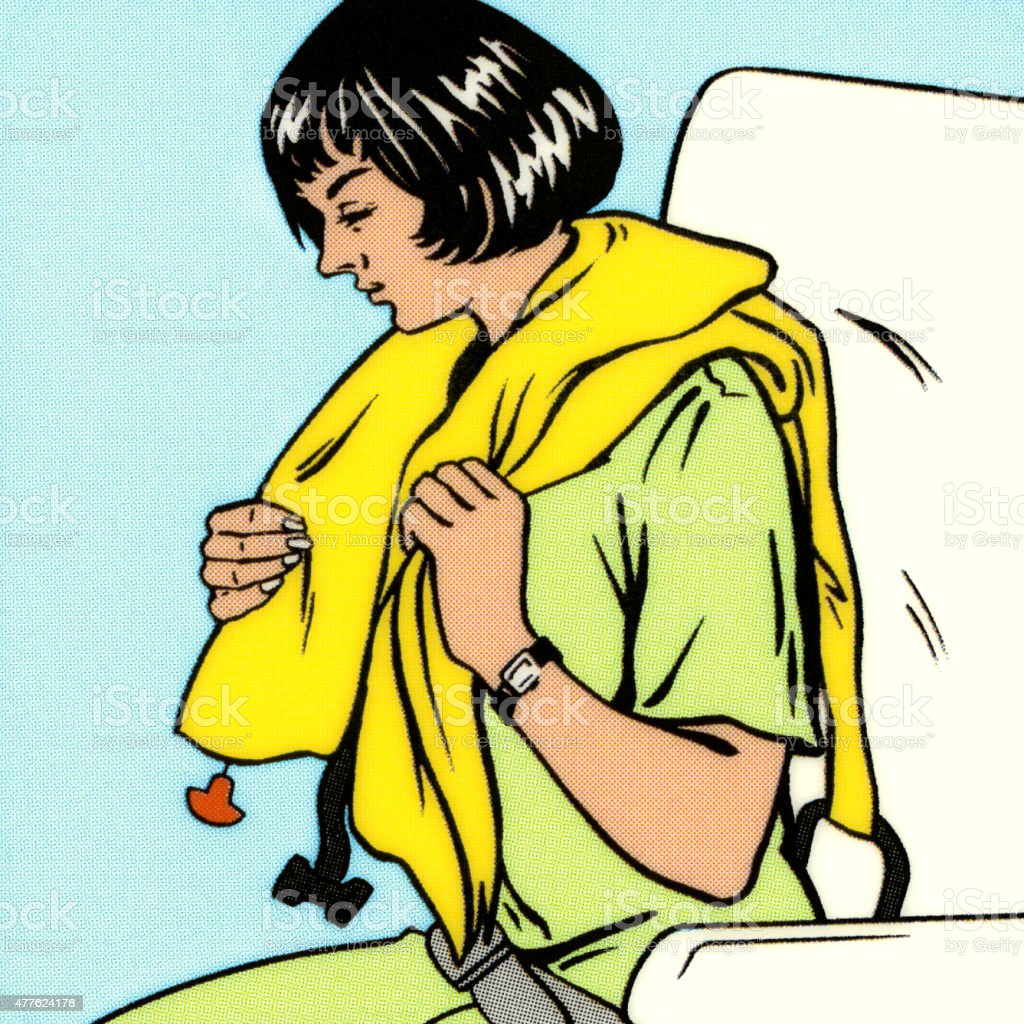 Woman Putting Life Vest On vector art illustration