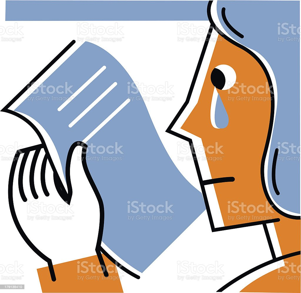 Woman reading letter and crying royalty-free stock vector art
