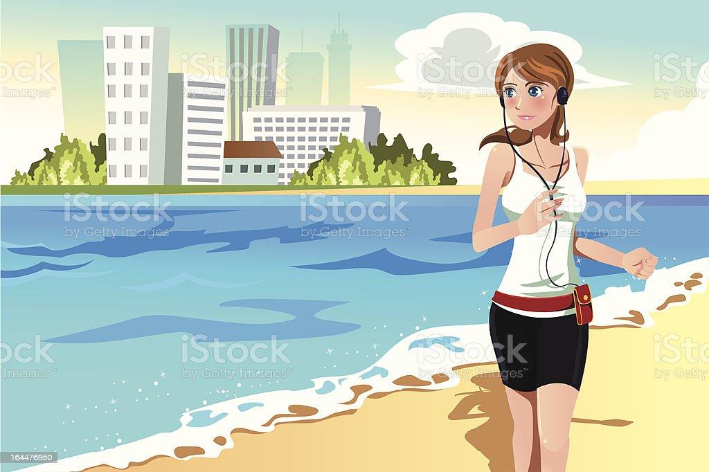 Woman running on the beach royalty-free stock vector art