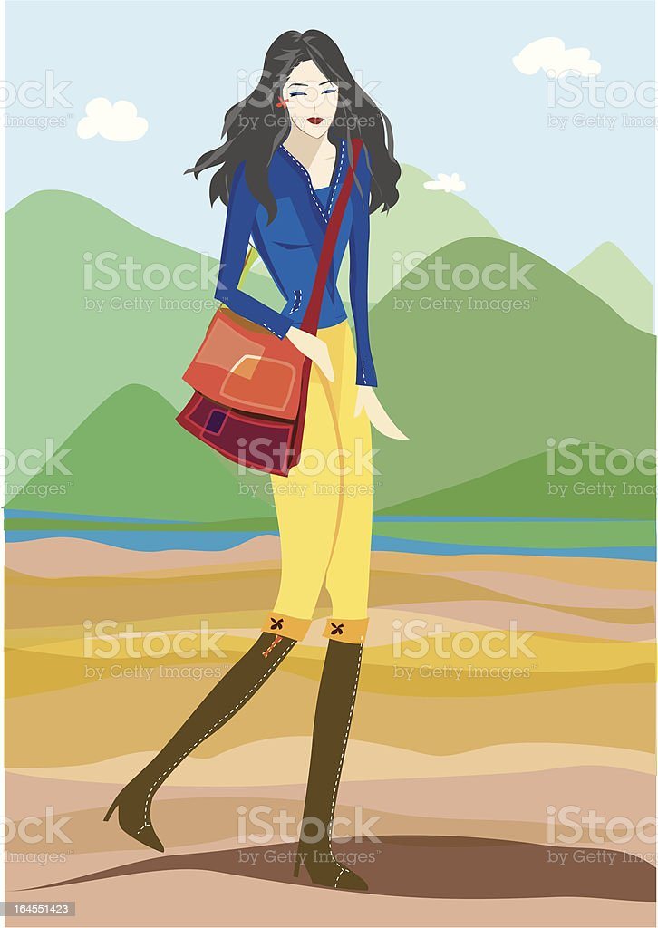 Woman Series - Hiking royalty-free stock vector art