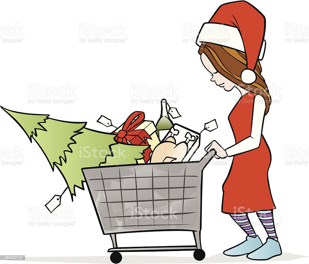 Woman Shopping for Christmas royalty-free stock vector art