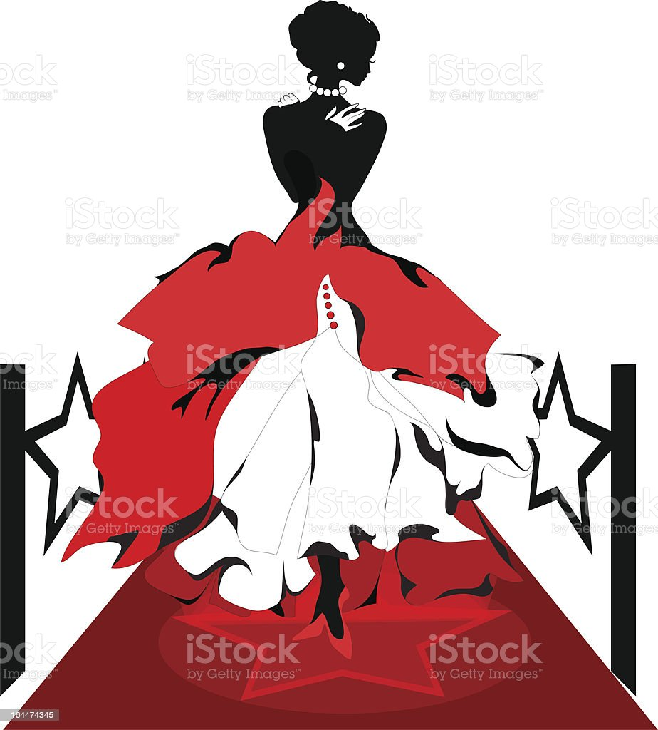 Woman silhouette on a red carpet. Isabelle series royalty-free stock vector art