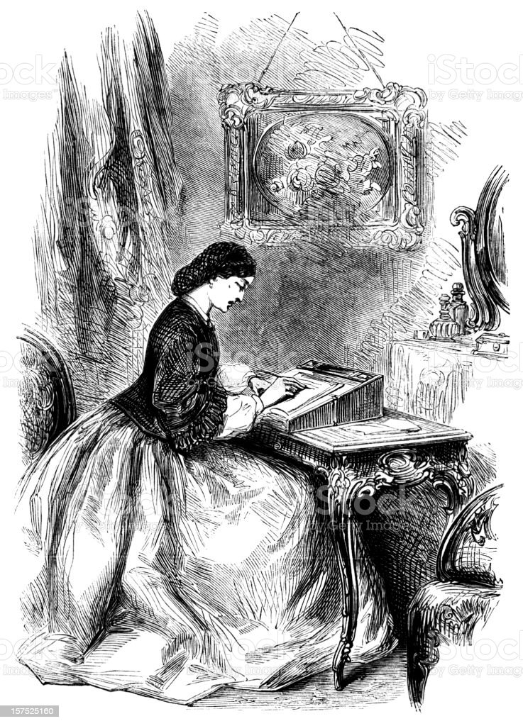Woman sitting at a writing desk - Victorian illustration vector art illustration
