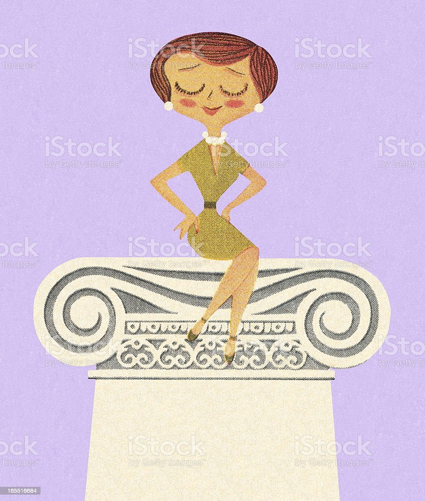 Woman Sitting on a Pedestal royalty-free stock vector art