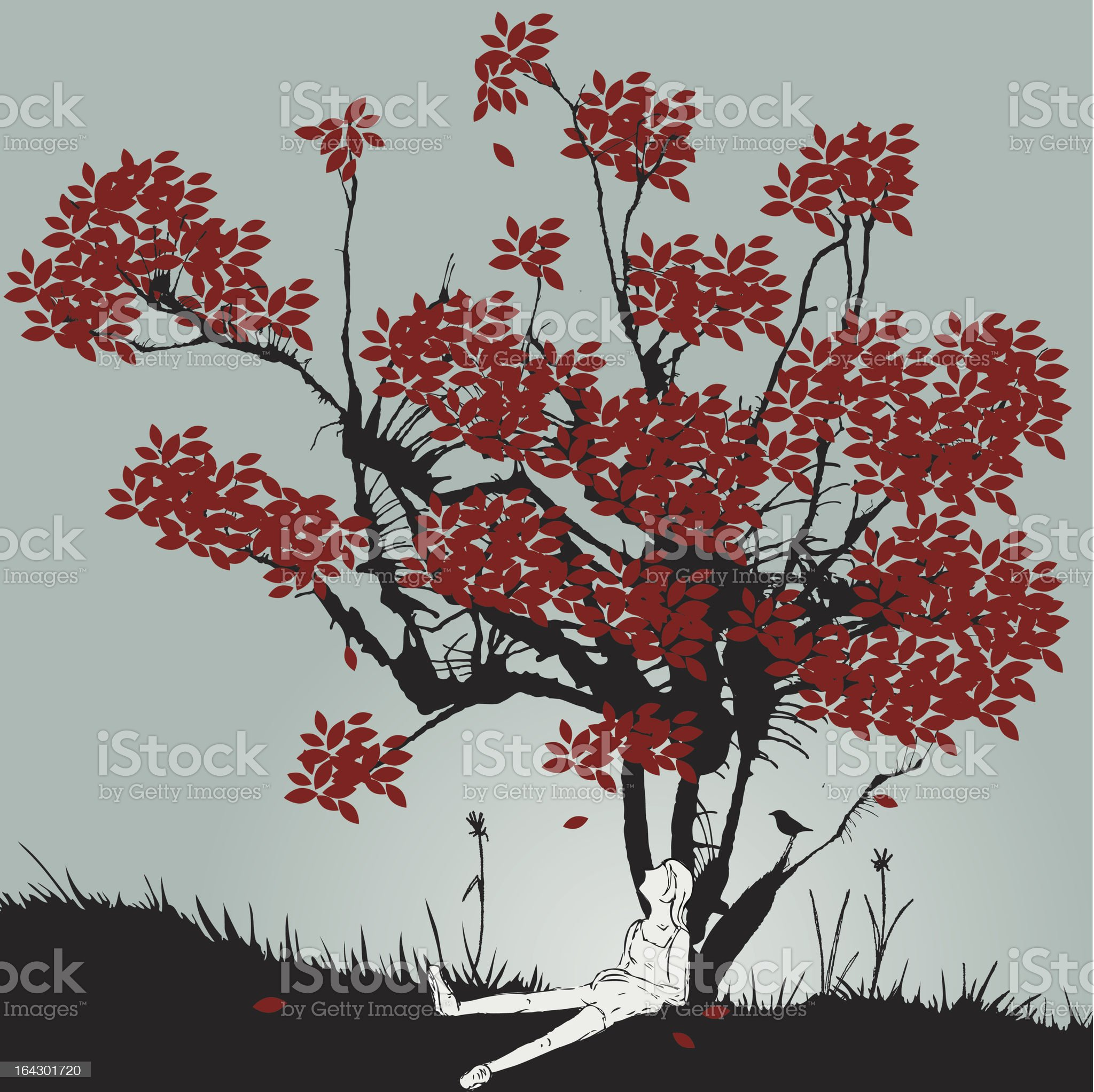 Woman sitting under tree of red leaves royalty-free stock vector art