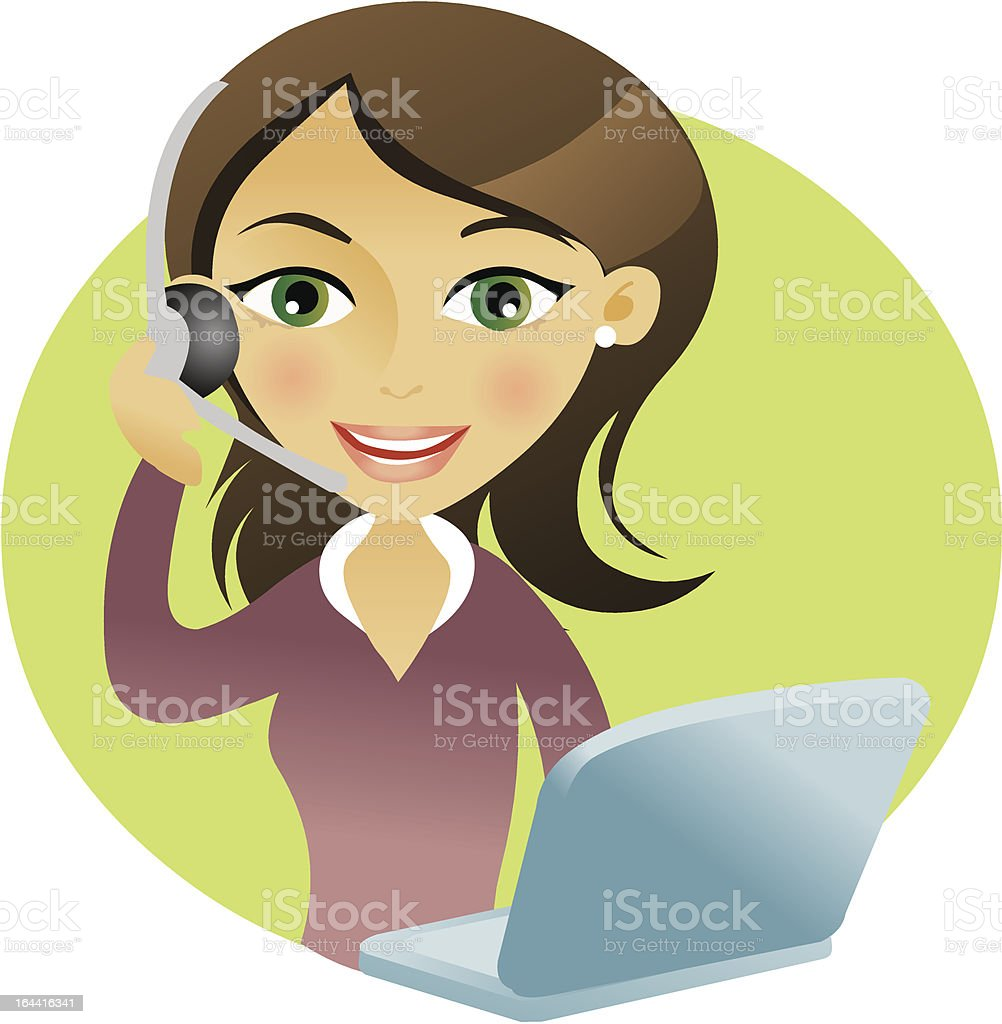 Woman smilig with headset royalty-free stock vector art