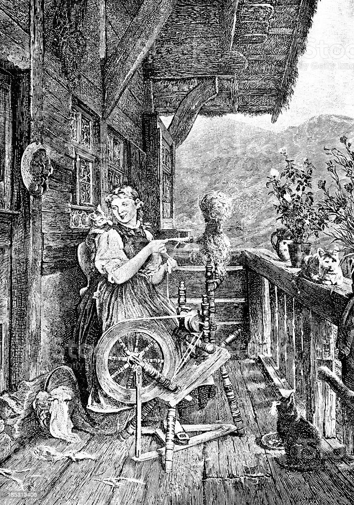 Woman Spinning - Victorian Illustration vector art illustration