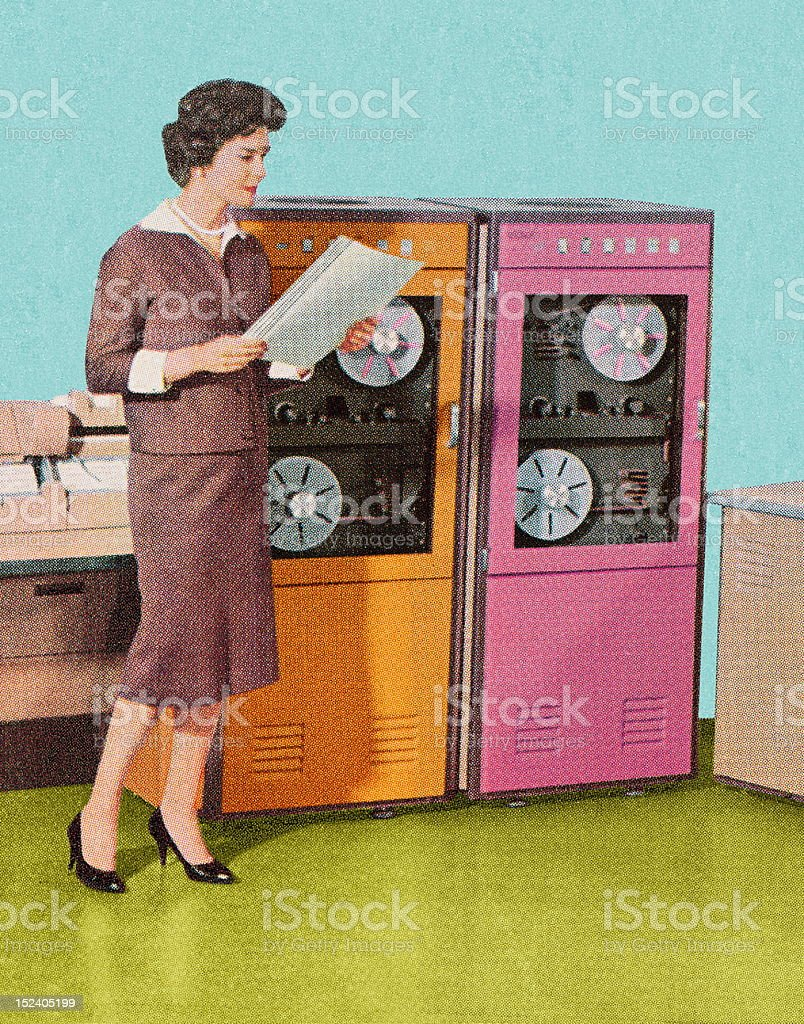 Woman Standing at Old Computers royalty-free stock vector art