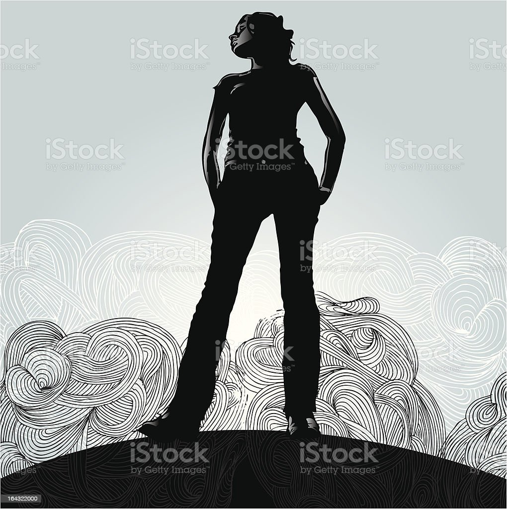 Woman Standing in Front of Clouds vector art illustration
