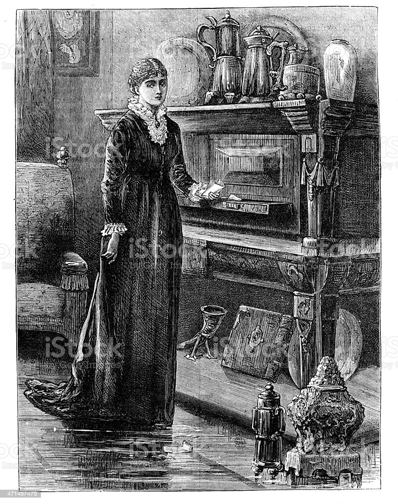Woman standing next to antique sideboard   from 1880 journal royalty-free stock vector art