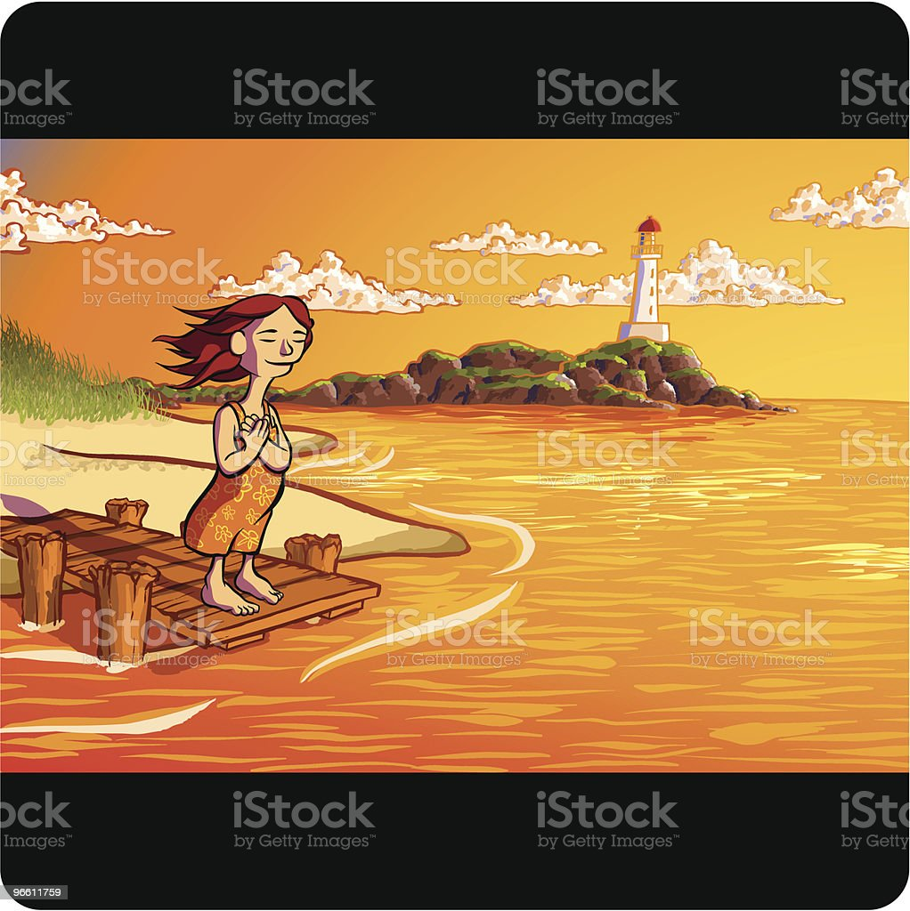 Woman Standing on Dock Along Ocean Coast Line vector art illustration