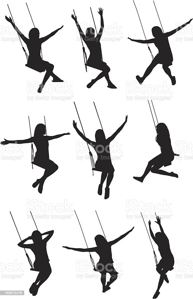 Woman swinging on a swing royalty-free stock vector art