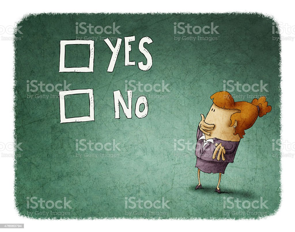 woman take a decision between yes or no vector art illustration