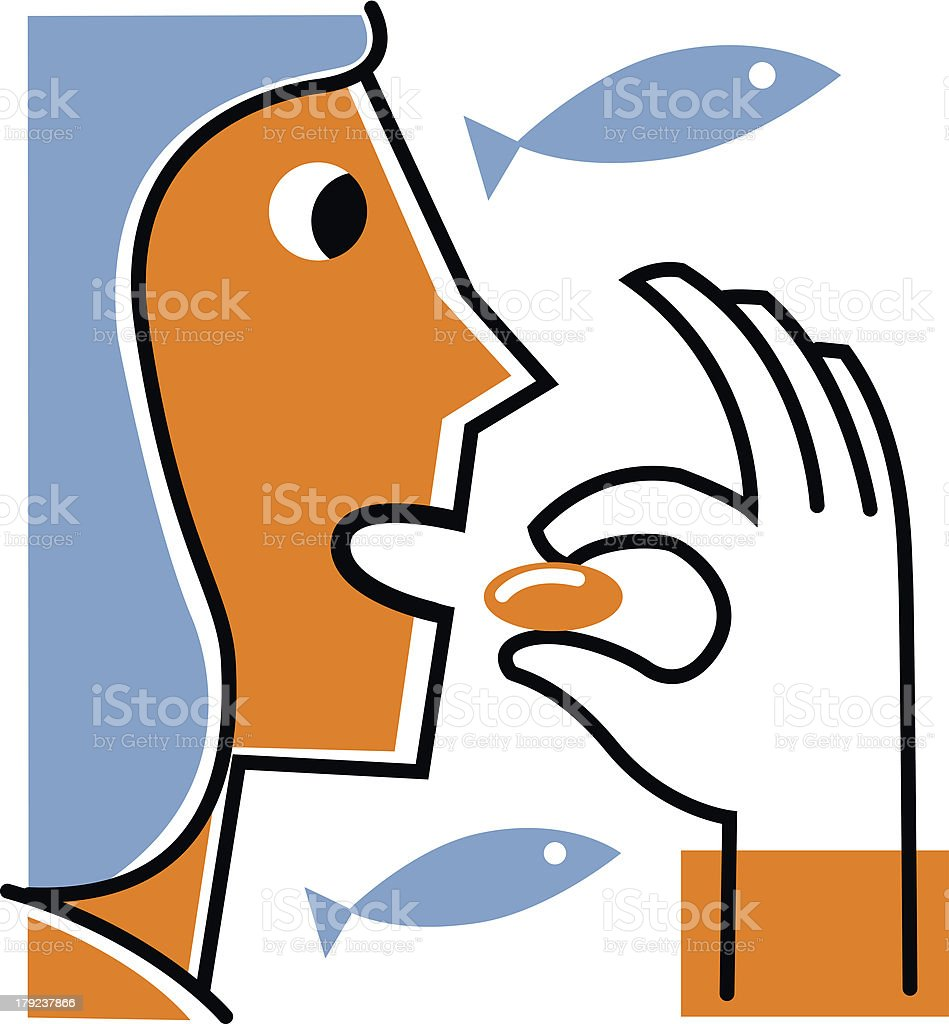 Woman taking fish oil supplement royalty-free stock vector art