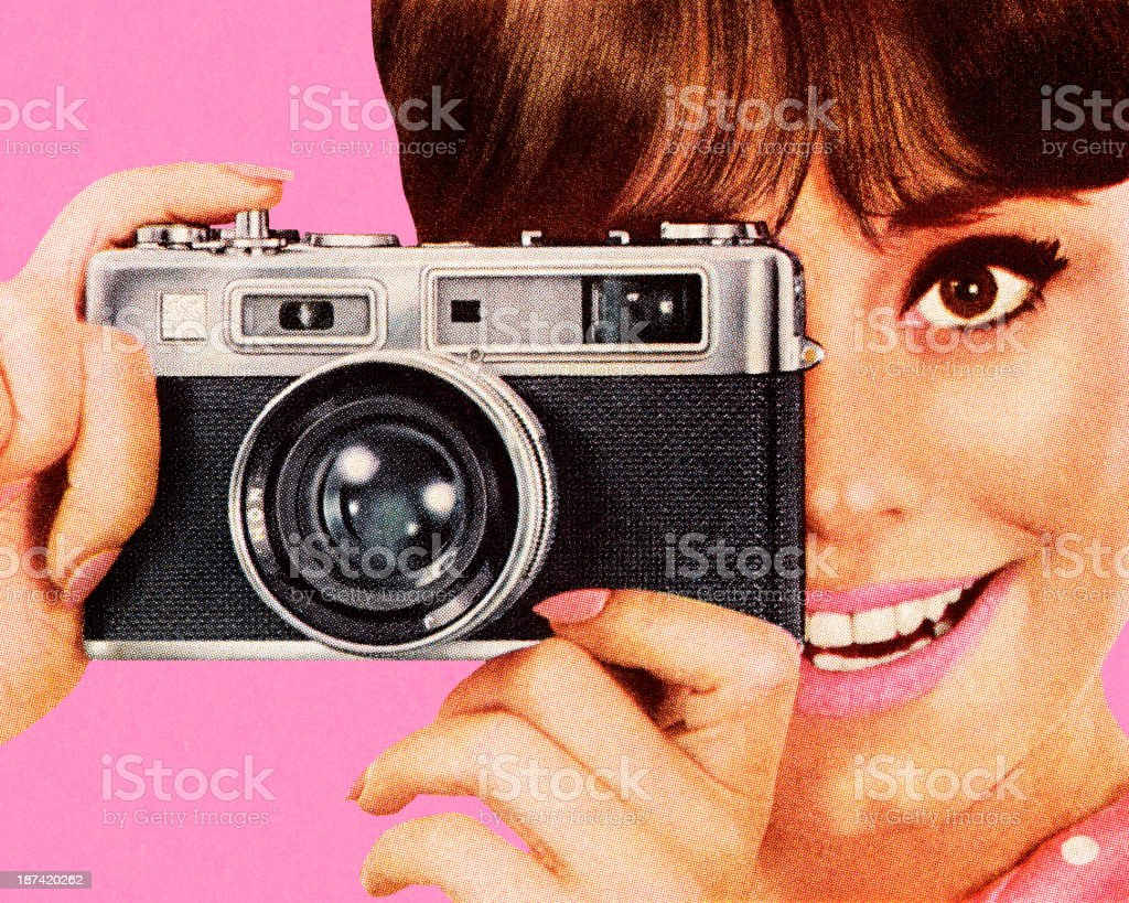 Woman Taking Picture With Camera vector art illustration