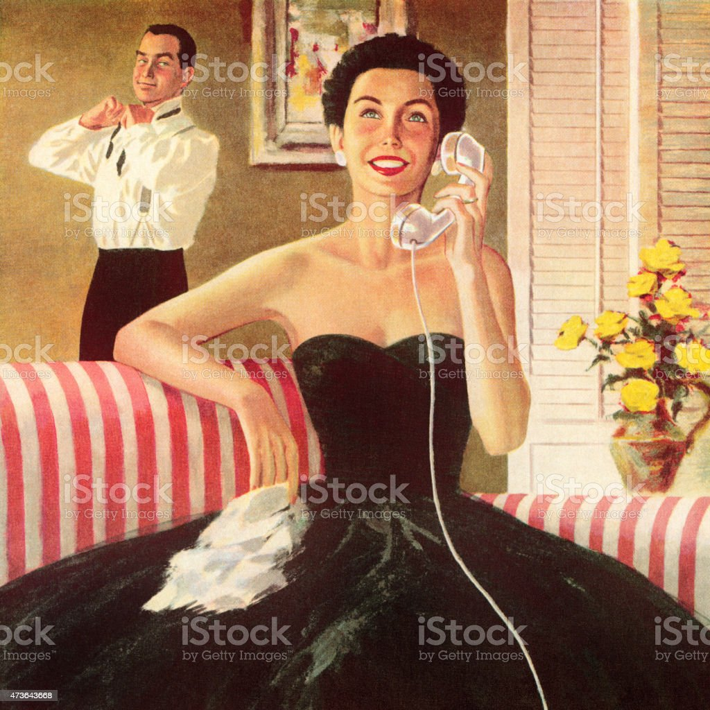 Woman Talking on the Telephone vector art illustration