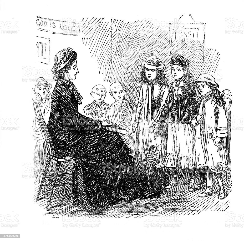 Woman teaching class of children   from 1880 journal vector art illustration